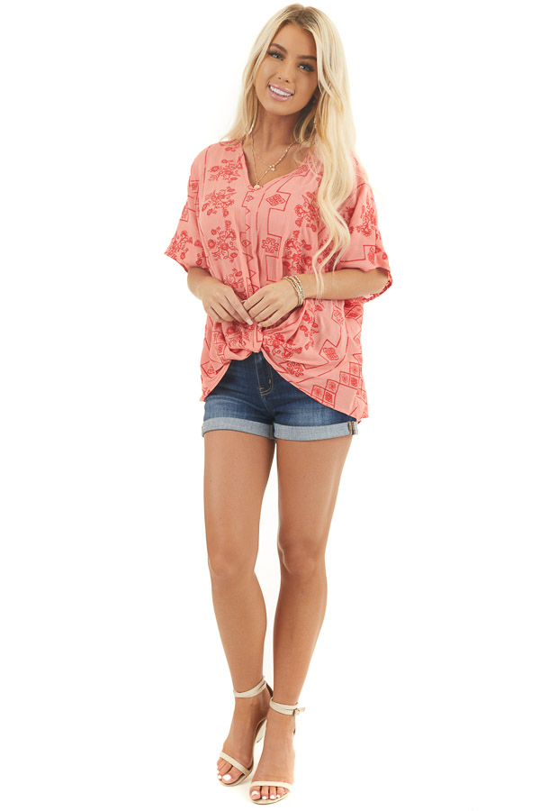 Coral Short Sleeve Embroidered Top with High Low Hemline front full body