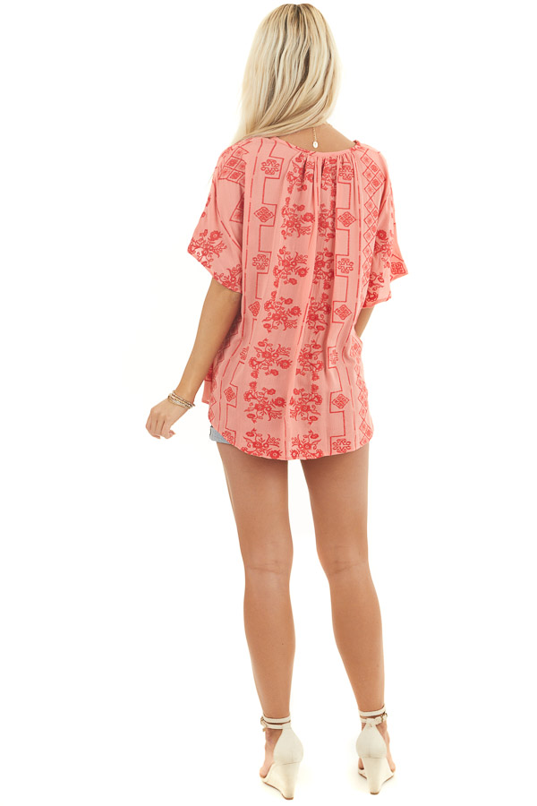 Coral Short Sleeve Embroidered Top with High Low Hemline back full body
