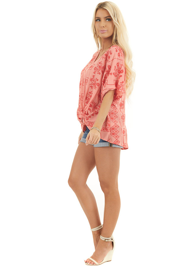 Coral Short Sleeve Embroidered Top with High Low Hemline side full body