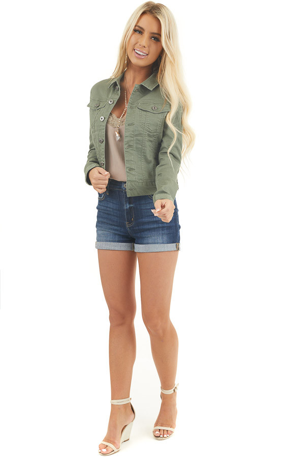 Olive Green Button Up Denim Jacket with Collar and Pockets front full body