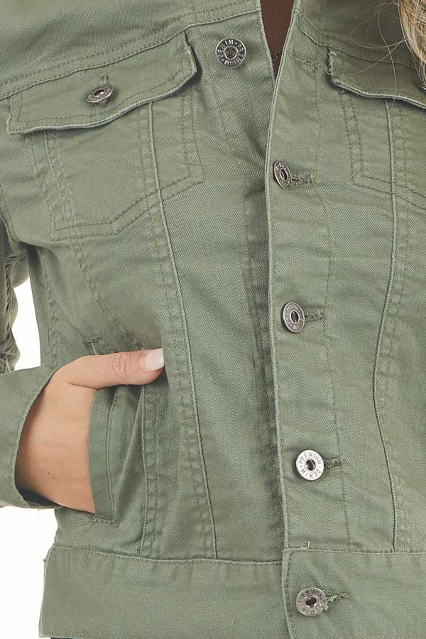 Olive Green Button Up Denim Jacket with Collar and Pockets detail