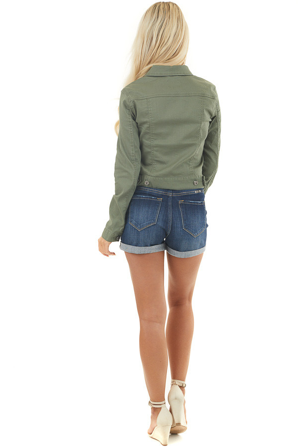 Olive Green Button Up Denim Jacket with Collar and Pockets back full body
