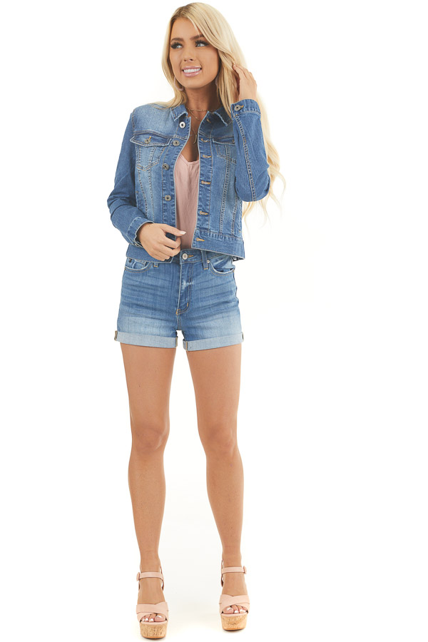Medium Wash Button Up Denim Jacket with Collar and Pockets front full body