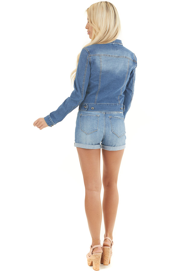 Medium Wash Button Up Denim Jacket with Collar and Pockets back full body
