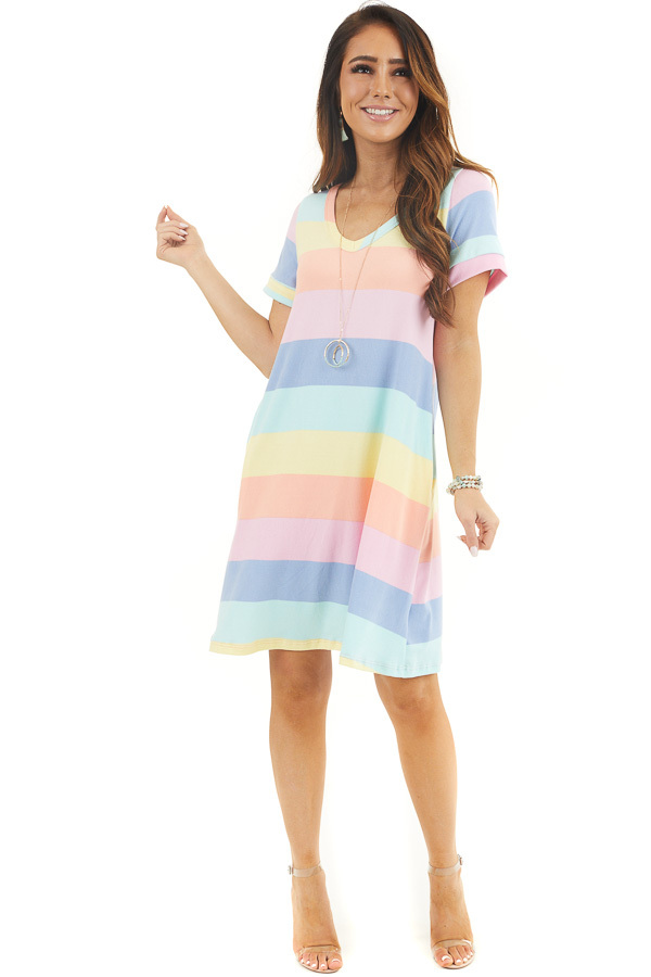Multicolor Striped Short Sleeve Mini Dress with V Neckline front full body