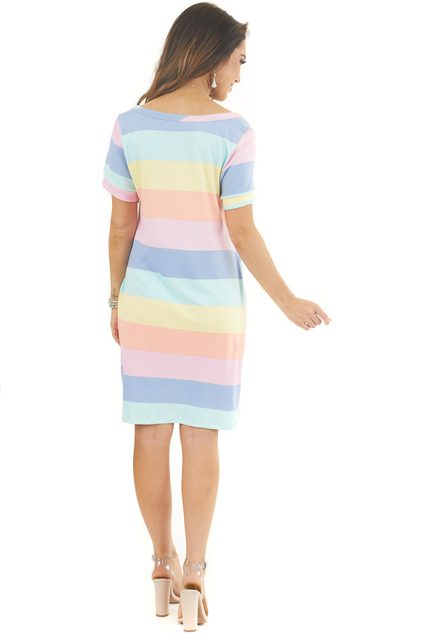 Multicolor Striped Short Sleeve Mini Dress with V Neckline back full body
