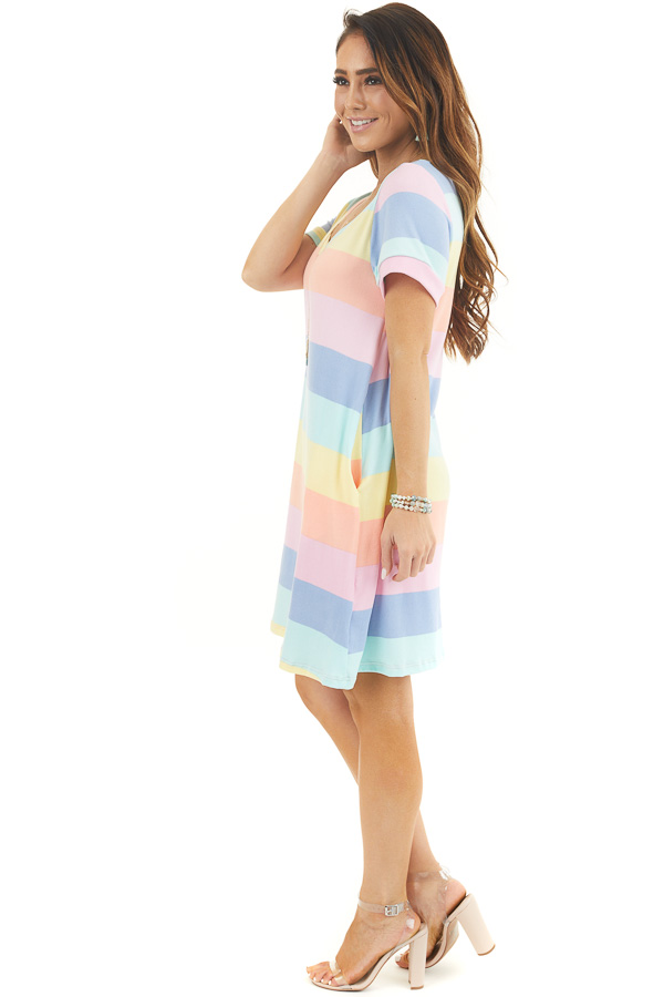 Multicolor Striped Short Sleeve Mini Dress with V Neckline side full body
