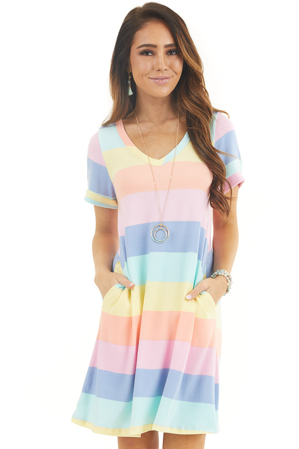 Multicolor Striped Short Sleeve Mini Dress with V Neckline front close up