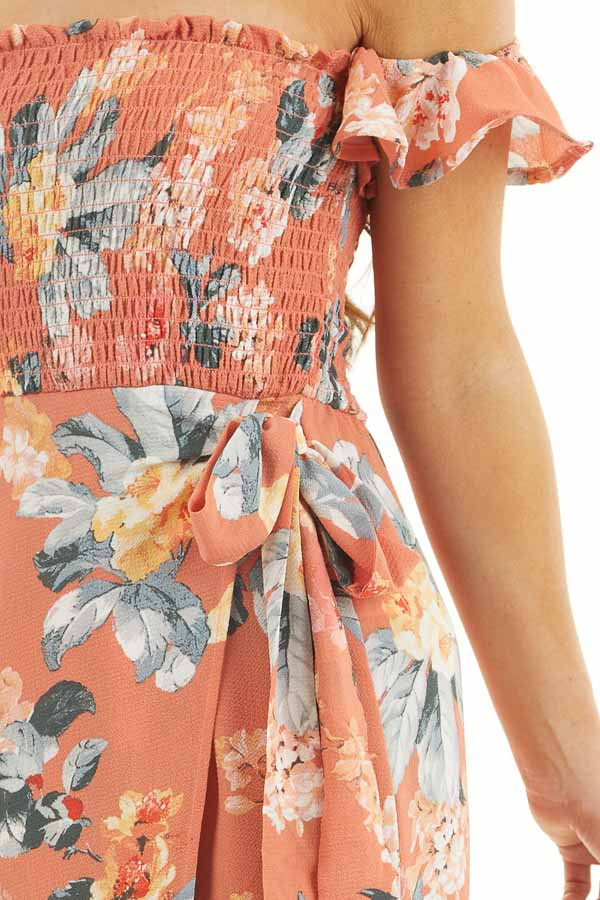 Dusty Coral Floral Print Off Shoulder Dress with Side Tie detail