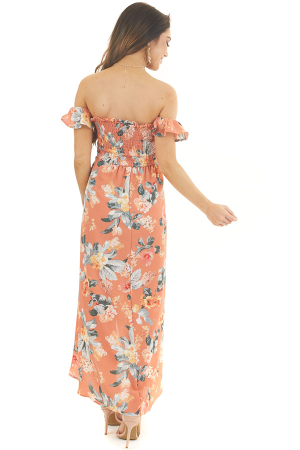 Dusty Coral Floral Print Off Shoulder Dress with Side Tie back full body