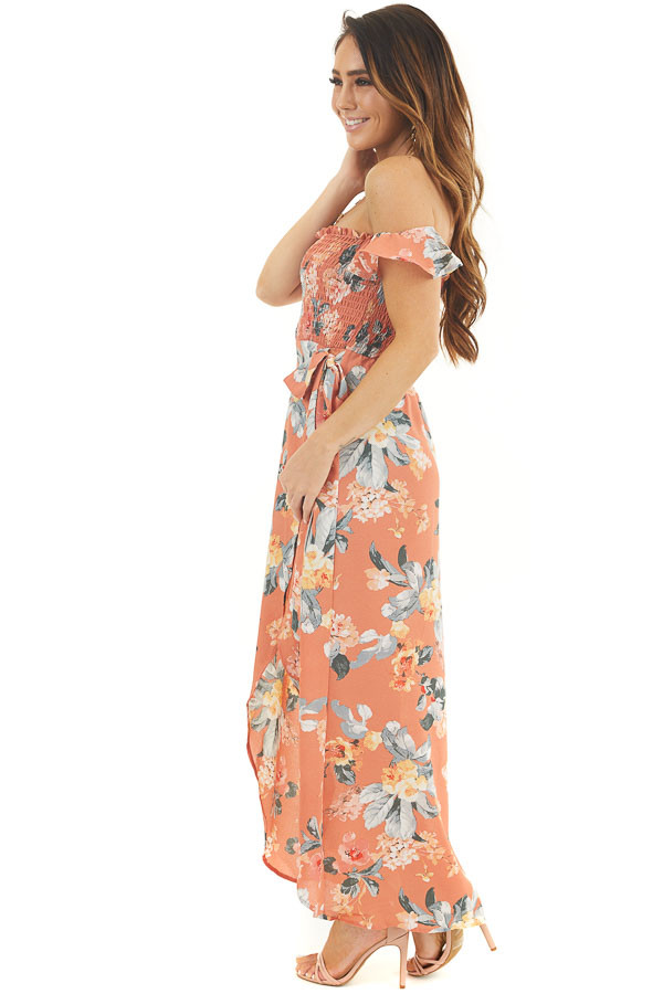 Dusty Coral Floral Print Off Shoulder Dress with Side Tie side full body