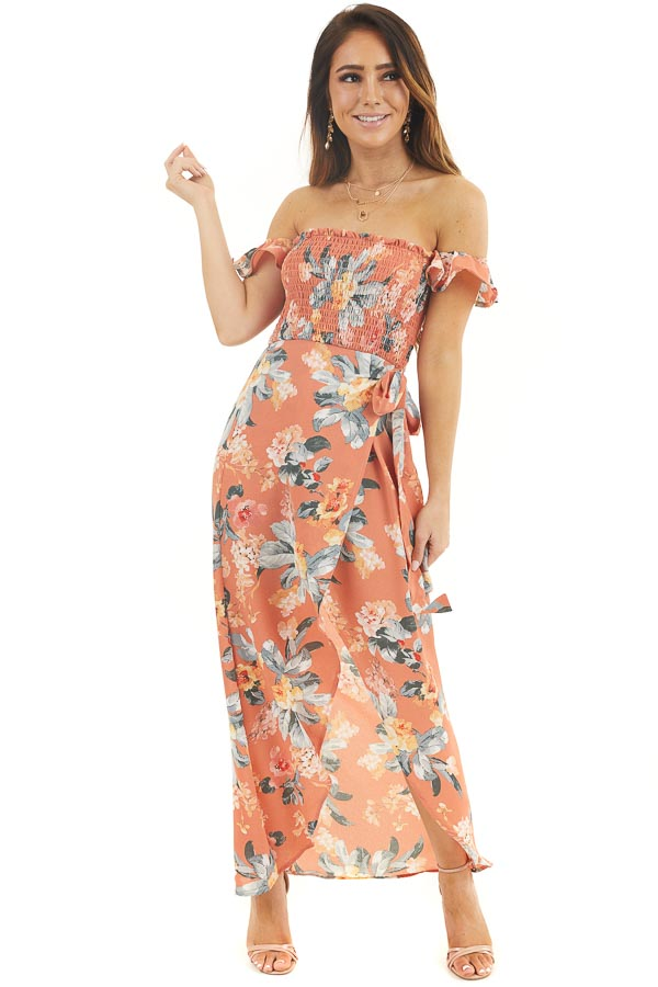 Dusty Coral Floral Print Off Shoulder Dress with Side Tie front full body
