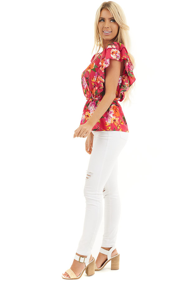 Fuchsia Floral Print Surplice Peplum Top with Ruffles side full body