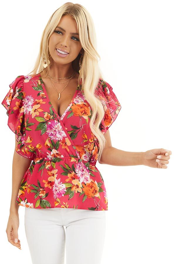 Fuchsia Floral Print Surplice Peplum Top with Ruffles front close up