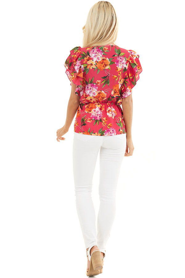 Fuchsia Floral Print Surplice Peplum Top with Ruffles back full body