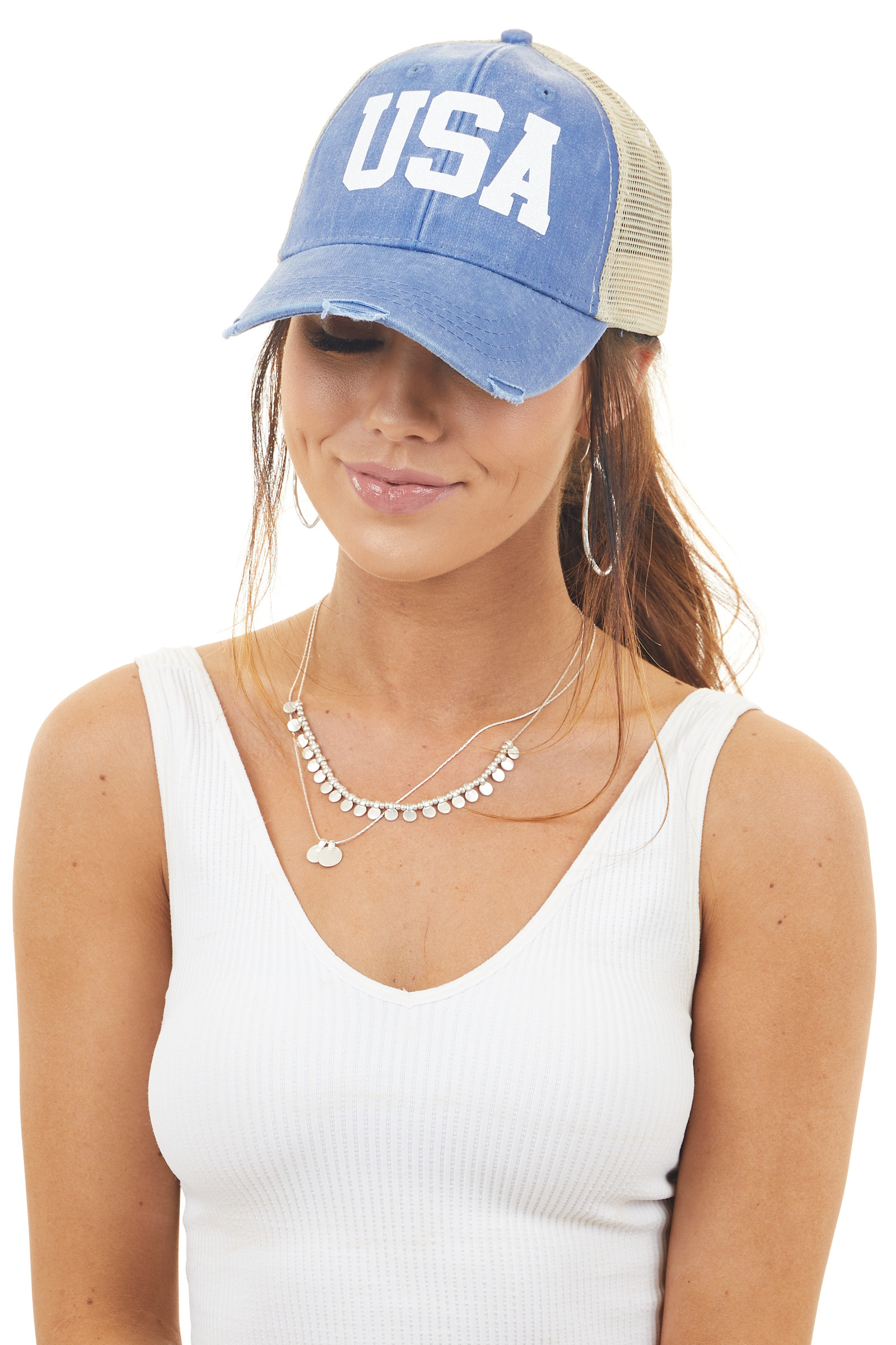 Vintage Blue Distressed Trucker Cap with Glitter 'USA' Decal