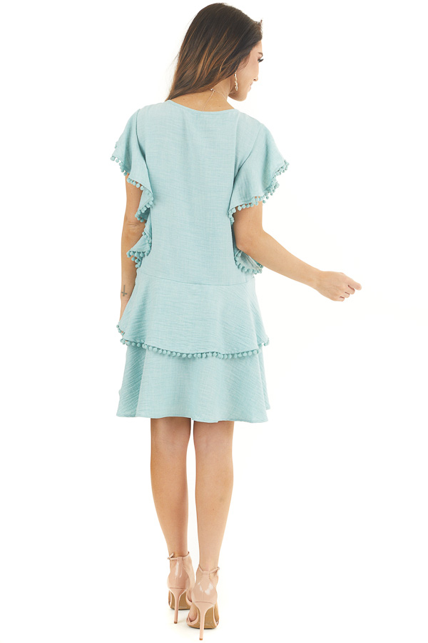 Mint Short Sleeve Mini Dress with Ruffle and Pom Pom Details back full body