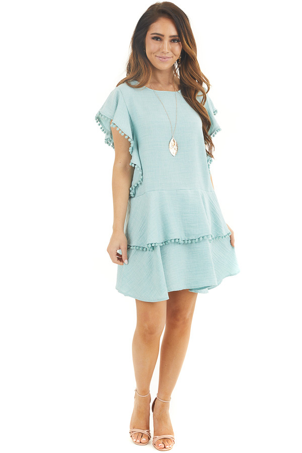 Mint Short Sleeve Mini Dress with Ruffle and Pom Pom Details front full body