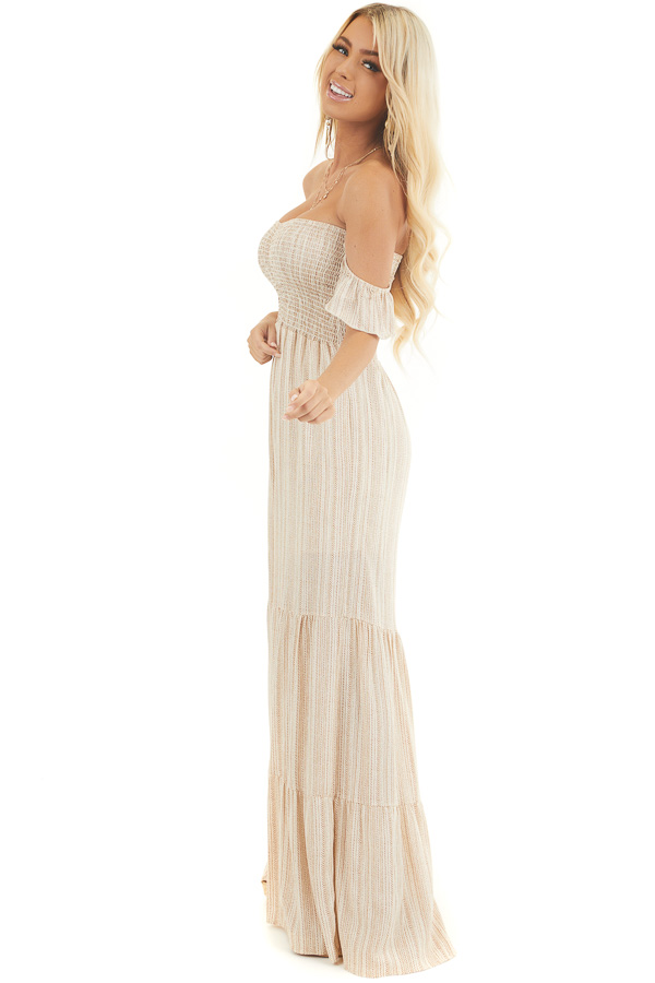 Ivory and Beige Striped Off the Shoulder Smocked Jumpsuit side full body