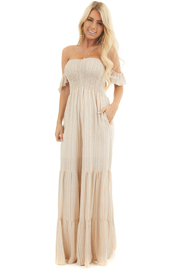 Ivory and Beige Striped Off the Shoulder Smocked Jumpsuit front full body