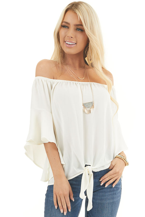 Ivory Off the Shoulder Top with Front Knot Detail front close up