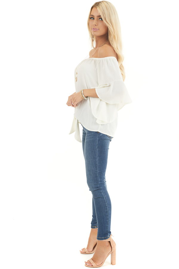 Ivory Off the Shoulder Top with Front Knot Detail side full body