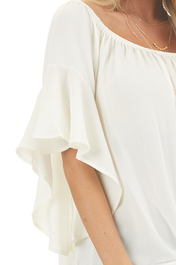 Ivory Off the Shoulder Top with Front Knot Detail detail