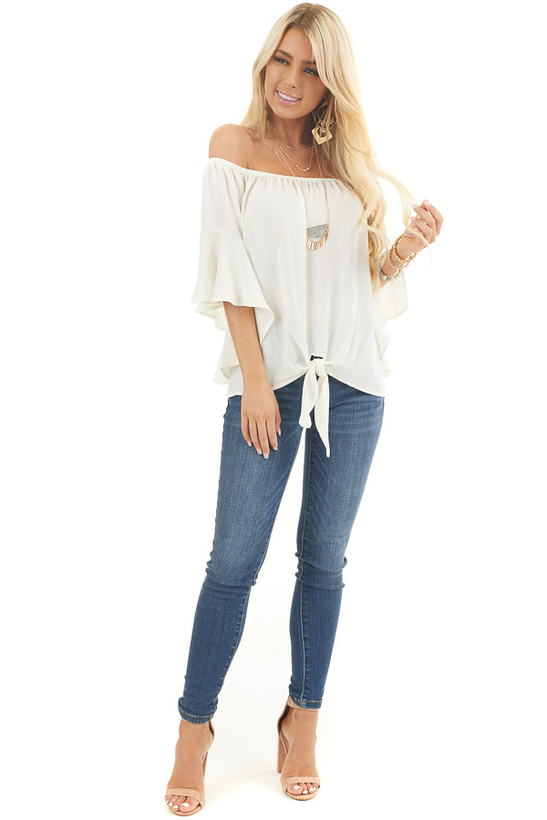 Ivory Off the Shoulder Top with Front Knot Detail front full body
