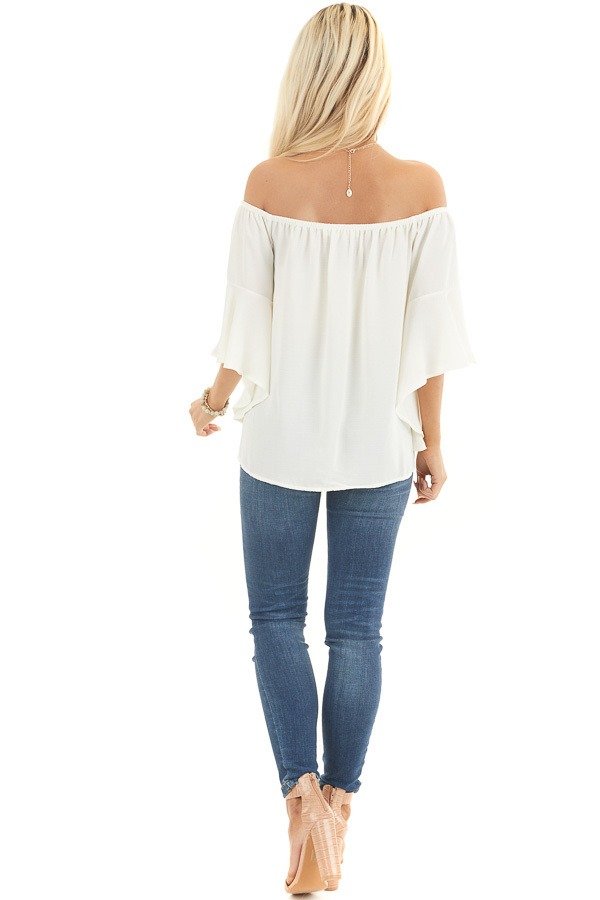 Ivory Off the Shoulder Top with Front Knot Detail back full body