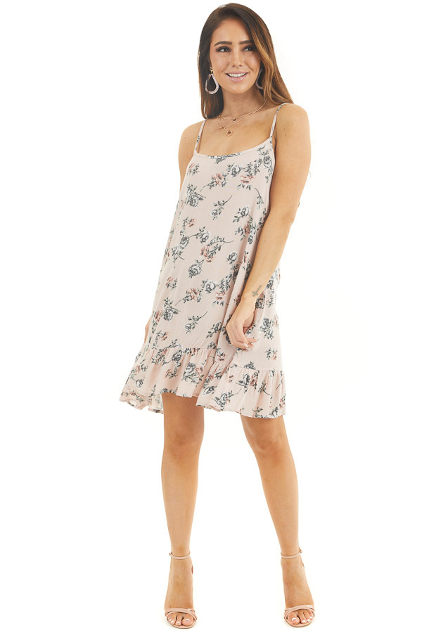 Blush Pink Floral Print Sleeveless Mini Dress with Ruffles front full body