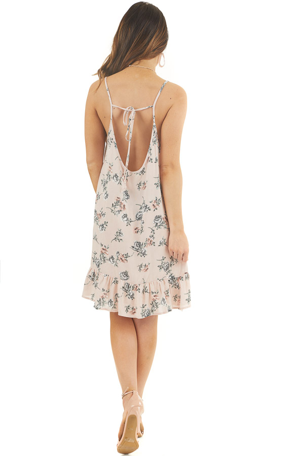 Blush Pink Floral Print Sleeveless Mini Dress with Ruffles back full body