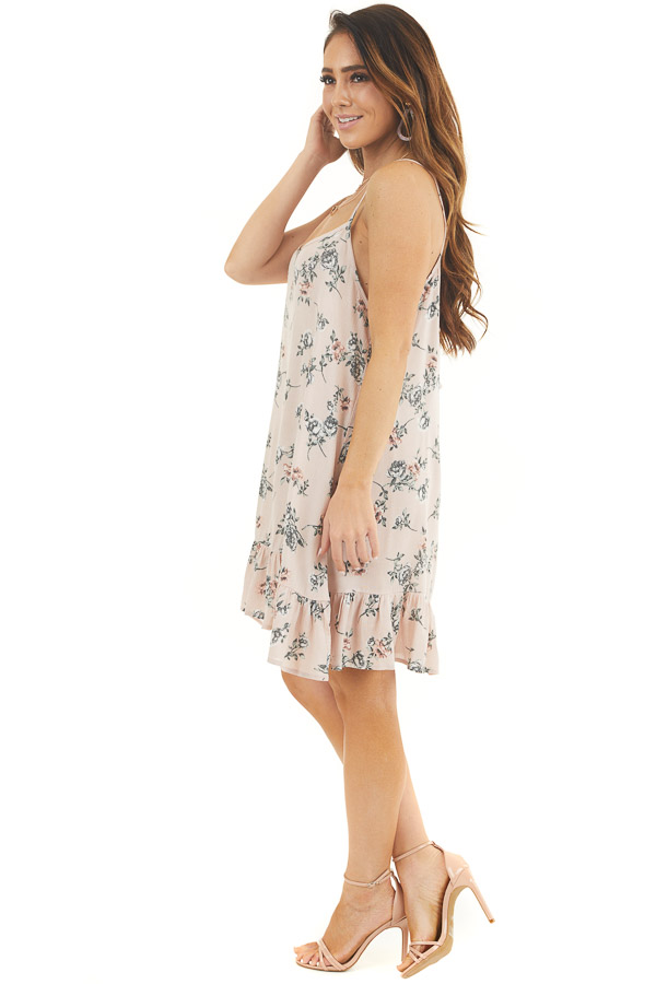 Blush Pink Floral Print Sleeveless Mini Dress with Ruffles side full body