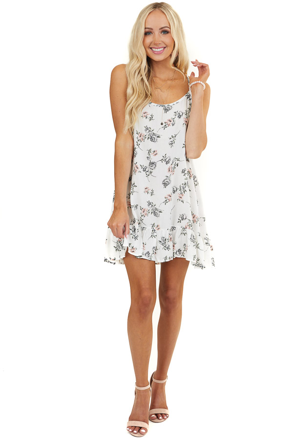 White Floral Print Sleeveless Mini Dress with Ruffles