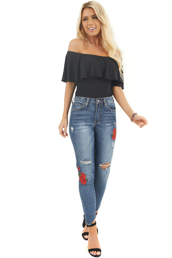 Black Off the Shoulder Bodysuit with Flounce Overlay Detail front full body