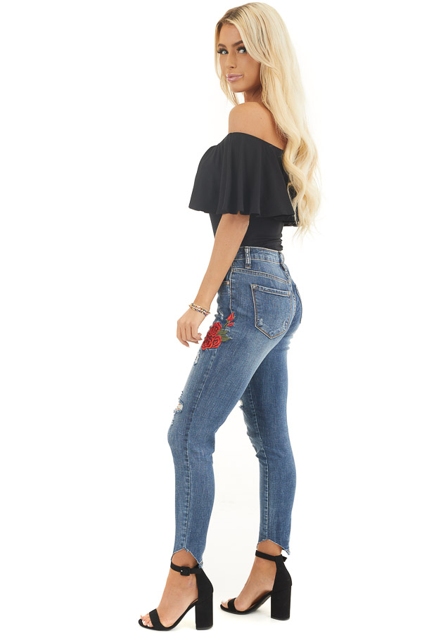 Black Off the Shoulder Bodysuit with Flounce Overlay Detail side full body