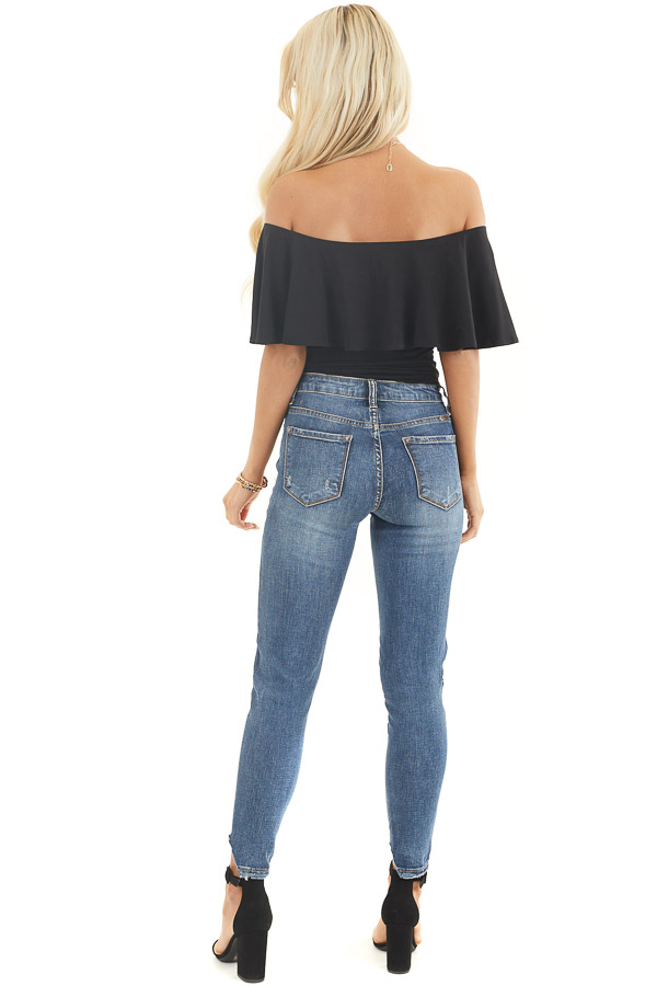 Black Off the Shoulder Bodysuit with Flounce Overlay Detail back full body