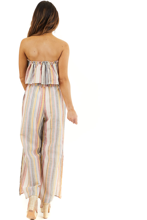 Blush and Charcoal Striped Strapless Jumpsuit with Leg Slit back full body