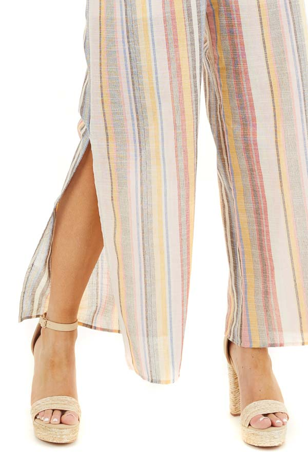 Blush and Charcoal Striped Strapless Jumpsuit with Leg Slit detail