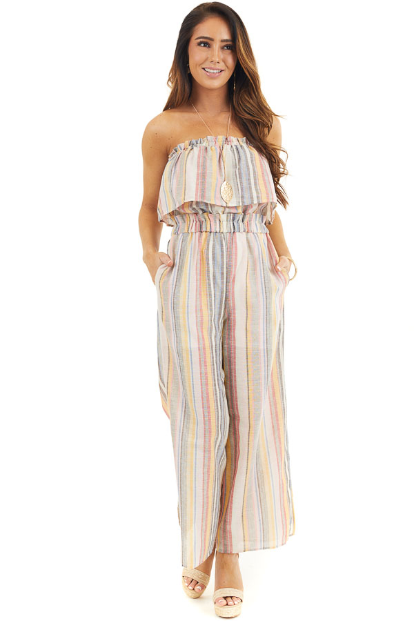 Blush and Charcoal Striped Strapless Jumpsuit with Leg Slit front full body