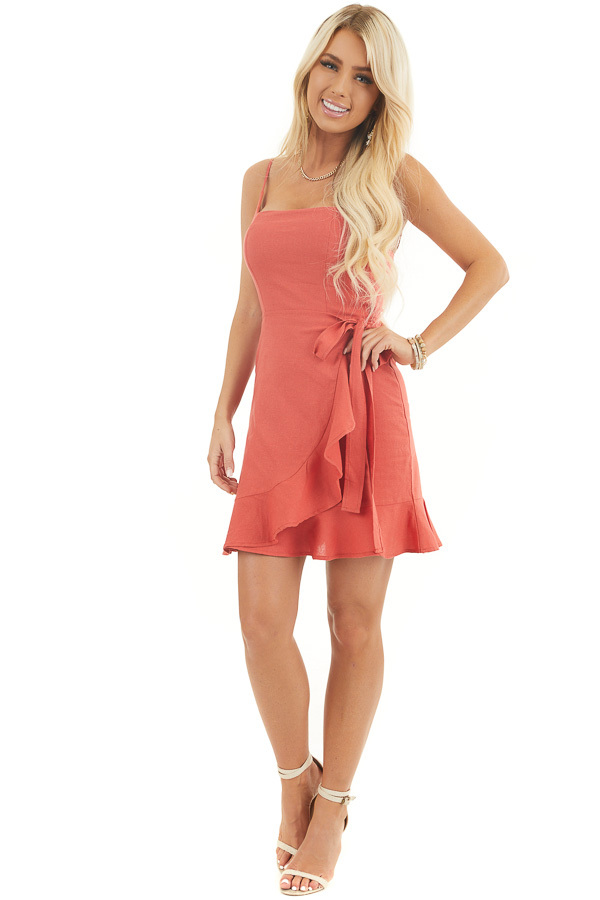 Rust Faux Wrap Style Woven Mini Dress with Ruffle Detail front full body