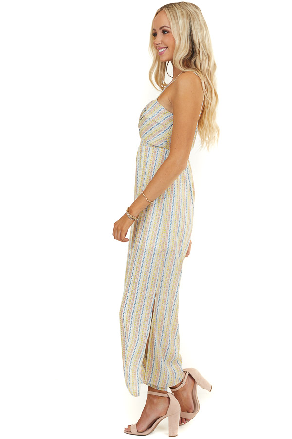Multicolor Patterned Jumpsuit with Front Twist Detail