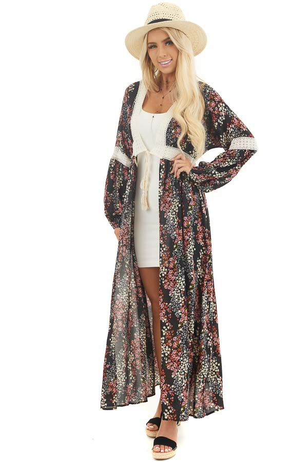 Black Floral Duster Cardigan with Lace Details and Front Tie front full body