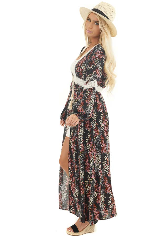 Black Floral Duster Cardigan with Lace Details and Front Tie side full body