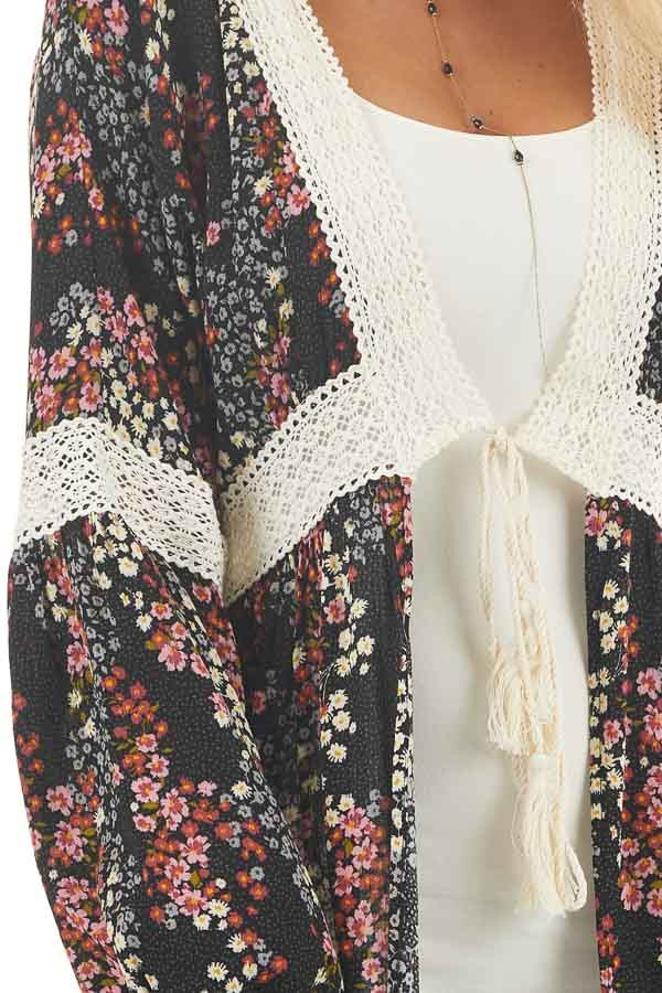 Black Floral Duster Cardigan with Lace Details and Front Tie detail