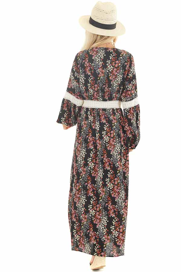 Black Floral Duster Cardigan with Lace Details and Front Tie back full body