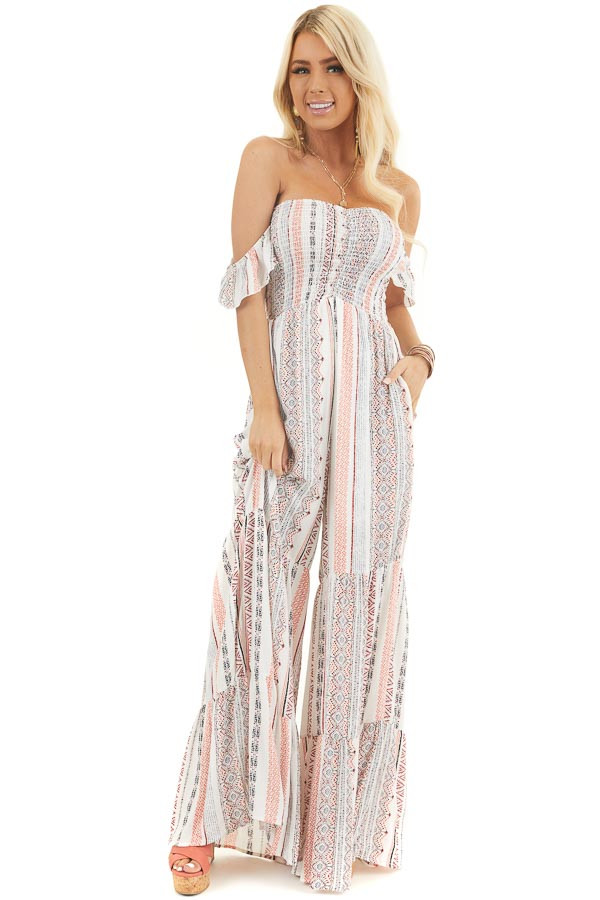 Off White and Coral Patterned Jumpsuit with Smocked Bust front full body