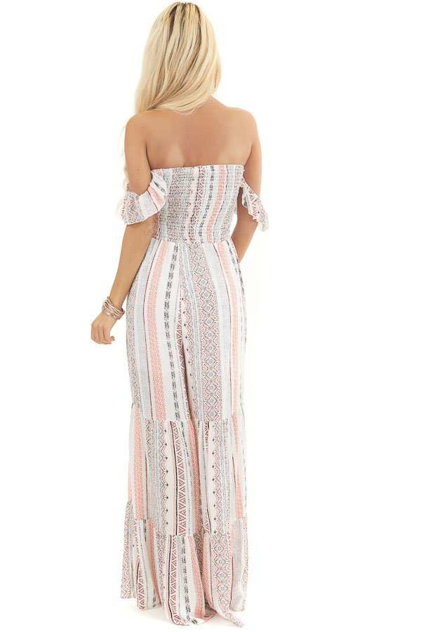 Off White and Coral Patterned Jumpsuit with Smocked Bust back full body