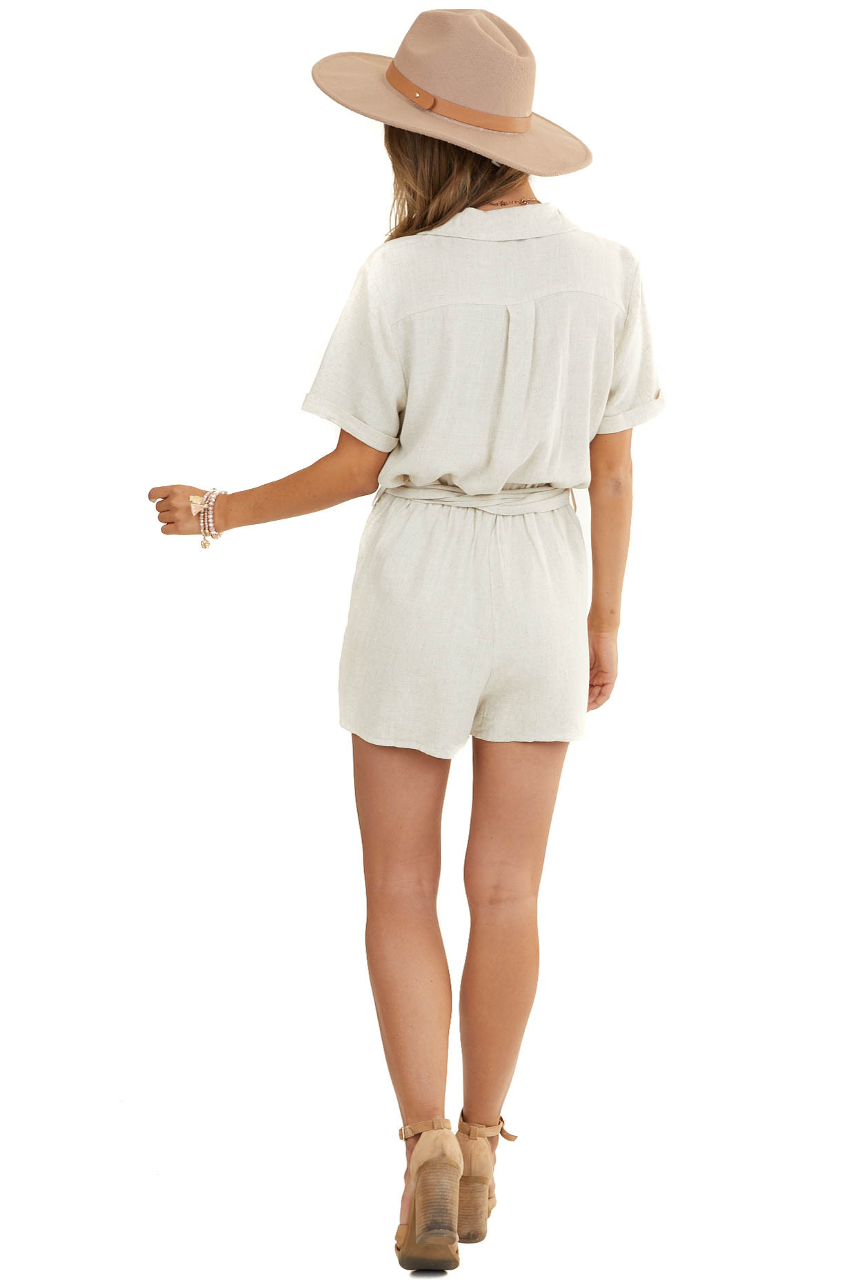 Oatmeal Collared Button Up Romper with Belt Waist Detail