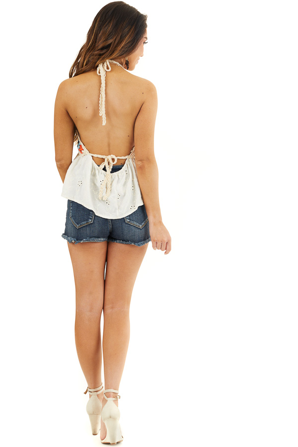 Champagne Halter Top with Multicolor Crocheted Overlay back full body