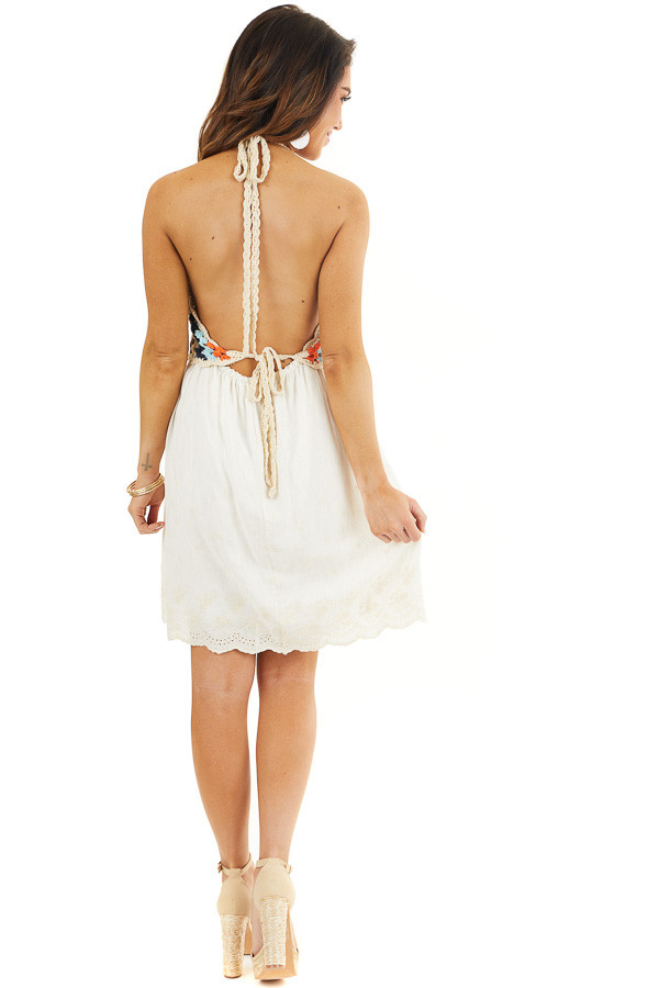 Champagne Halter Dress with Multicolor Crocheted Overlay back full body